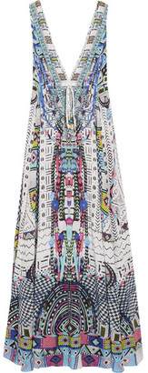 Camilla - Maasai Mosh Crystal-embellished Printed Silk Crepe De Chine Maxi Dress - Storm blue $800 thestylecure.com