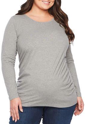 BELLE + SKY Belle & Sky Maternity Long Sleeve Scoop Tee - Plus
