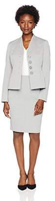 Le Suit Women's Petite Texture 3 Button Skirt