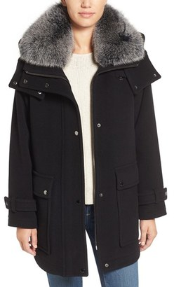 Trina Turk 'Peyton' Genuine Fox Fur Trim Wool Blend Duffle Coat $650 thestylecure.com