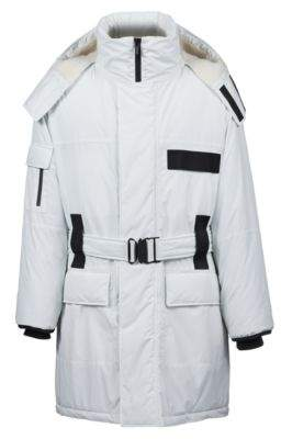 HUGO Boss Water-repellent coat zippered hood & contrast trims 40R Open White