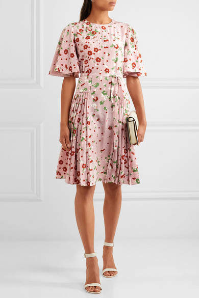 Valentino - Floral-print Silk Crepe De Chine Dress - Pink 4