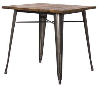 NPD Metropolis Metal Dining Table Wood Top, Gunmetal