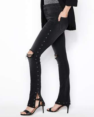 Express High Waisted Black Studded Stretch Skyscraper Jeans