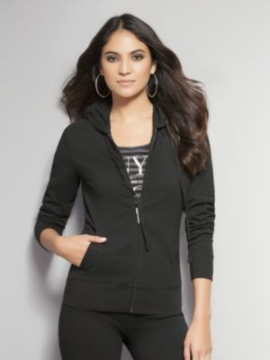 New York & Co. Zip Front Hoodie with Shirring