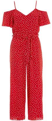 Quiz TOWIE Red And White Polka Dot Cold Shoulder Jumpsuit