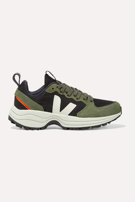 Veja Venturi Suede And Leather-trimmed Mesh Sneakers - Army green