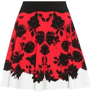 Alexander McQueen Floral knitted skirt
