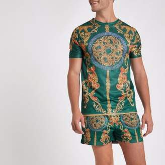 River Island Mens Green mesh baroque print slim fit T-shirt