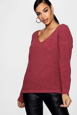 Damen Sasha übergroßer Pullover mit V-Ausschnitt
