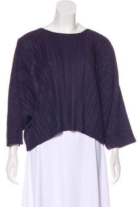 Pleats Please Issey Miyake Striped Long Sleeve Top
