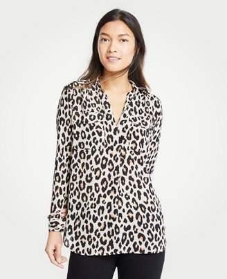 Ann Taylor Petite Leopard Print Camp Shirt