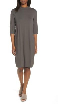Women's Eileen Fisher Mock Neck Jersey Shift Dress $198 thestylecure.com