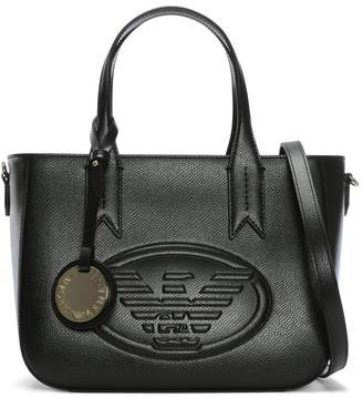 Emporio Armani Black Pebbled Embossed Logo Tote Bag