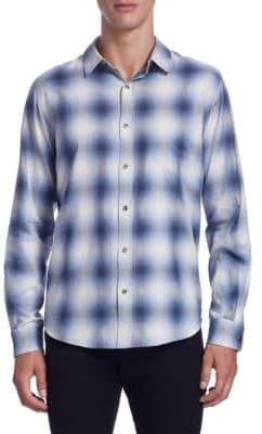 Vince Shadow Plaid Button-Down Shirt