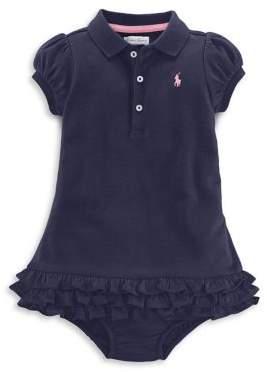 Ralph Lauren Childrenswear Baby Girl's Ruffled Polo Dress & Bloomers Set