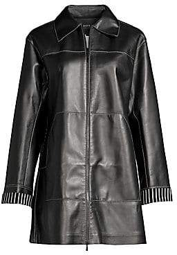 Lafayette 148 New York Women's Christopher Leather Contrast Top-Stitch Jacket
