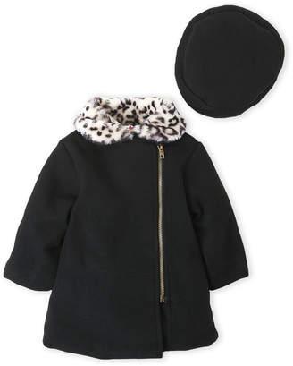 Penelope Mack (Toddler Girls) Two-Piece Leopard Print Collar Coat & Hat Set