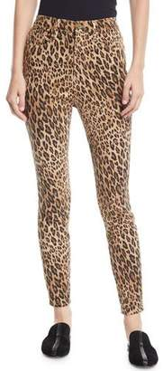 Frame Ali High-Rise Skinny Leopard Cigarette Jeans