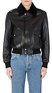 Loewe Men's Shearling-Collar Moto Jacket - Black
