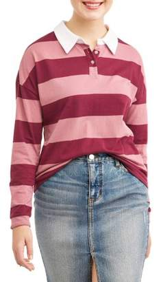 Self Esteem Juniors' Chunky Stripe Colorblock Long Sleeve Polo