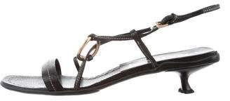 Prada Leather Crossover Sandals