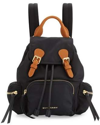 Burberry Small Leather-Trim Nylon Backpack, Black $1,150 thestylecure.com