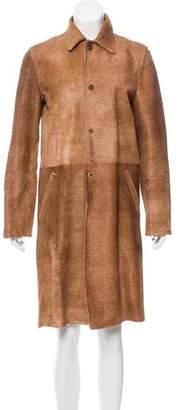 Ralph Lauren Black Label Leather Knee-Length Coat