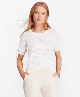 Brooks Brothers Elbow-Sleeve Cotton Pointelle Sweater