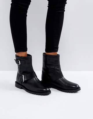 Office Ammunition Leather Biker Boots