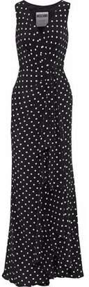 Moschino Wrap-Effect Polka-Dot Silk Crepe De Chine Maxi Dress