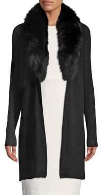 Saks Fifth Avenue Fox Fur-Collar Cashmere Cardigan