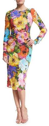 Monique Lhuillier Floral Lace Long-Sleeve Sheath Dress