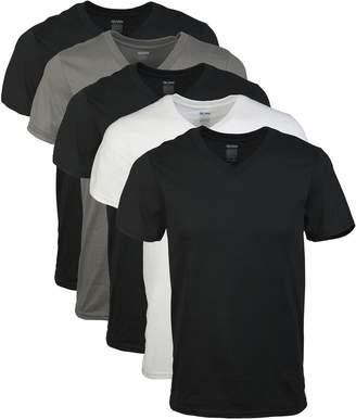 Gildan Men's V-Neck T-Shirts 5 Pack,3 Black/1 White/1 Charcoal