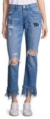 3x1 Distressed Cropped Fringe Hem Jeans
