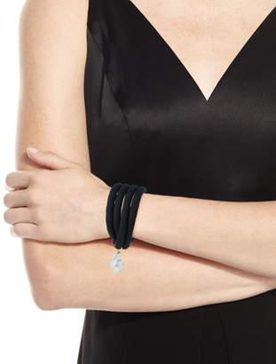 Grazia And Marica Vozza Silk Wrap Bracelet with Baroque Pearl