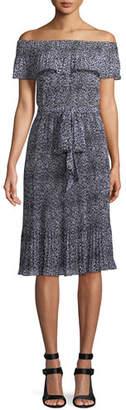 MICHAEL Michael Kors Leopard-Print Chiffon Off-the-Shoulder Dress