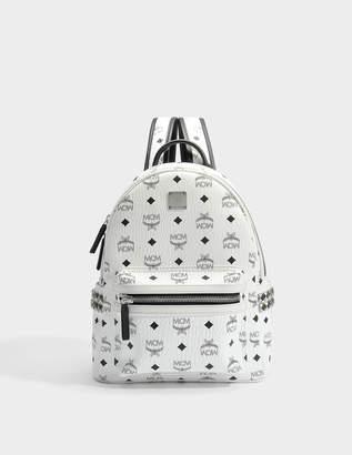 MCM Small Stark Backpack in White Bonded Visetos