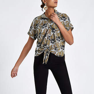 River Island Womens Black leaf print tie front shirt