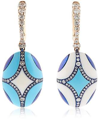 At Luisaviaroma Chantecler Maiolica Rose Gold Turquoise Earrings