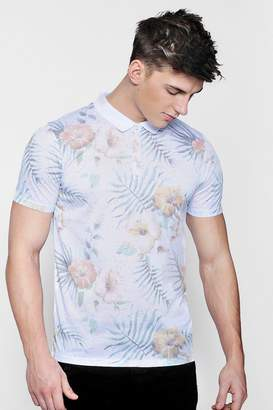 boohoo Tropical Floral Sublimation Print Polo