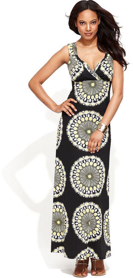 INC International Concepts Dress, Sleeveless Medallion-Print Maxi