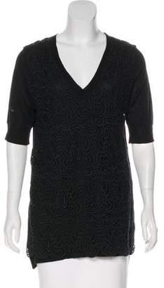 Lela Rose Lace Wool Short Sleeve Top