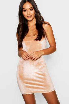boohoo Petite Velvet Square Neck Bodycon Dress