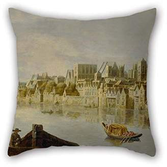 Westminster PaPaver Throw Cushion Covers(2 Sides) Nice Choice For Valentine Kids Boys Father Her Teens Festival Oil Painting Claude De Jongh - The Thames At Stairs