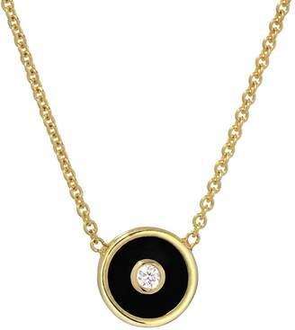 Retrouvaí Mini Black Onyx and Diamond Compass Necklace