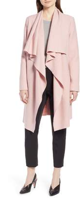 Halogen Boiled Wool Blend Drape Front Coat