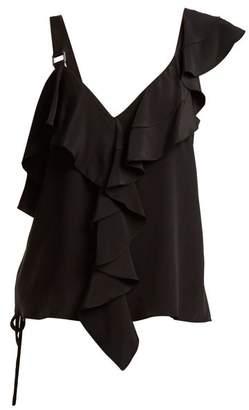 Proenza Schouler Ruffle Trimmed Silk Crepe De Chine Top - Womens - Black