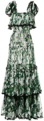 Dolce & Gabbana white geranium printed long tiered dress