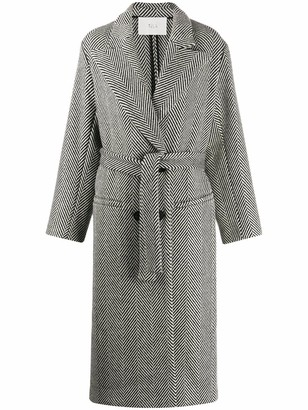 Tela Herringbone double-breasted coat